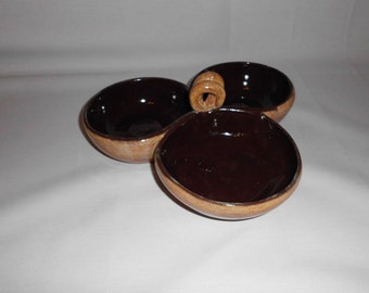 Server for Dip or Baked Potato Fixings     Brown and Sand