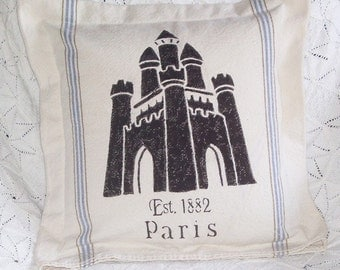 Vintage Feed Sack French Castle Pillow, Hand Painted, Castle Picture from France, Studio Made, Heavy cotton Fabric, Home Decor, European