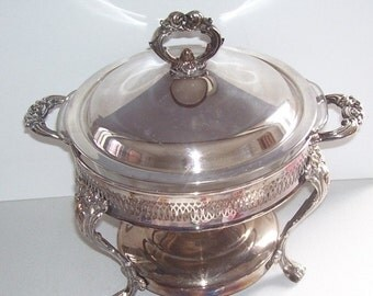 Fire King Casserole Silver Plate Holder with Glass Bowl Insert, Anchor Hocking, Kitchen, Party Server, AH Bowl Server