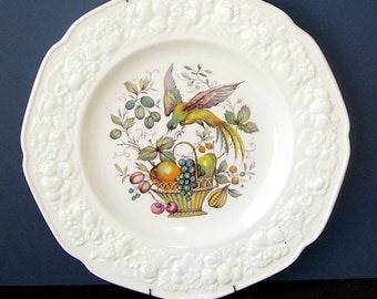 English Ironstone Crown Ducal Bird  Staffordshire England Plate, Bird Collectors Plate, Cabinet Plate,