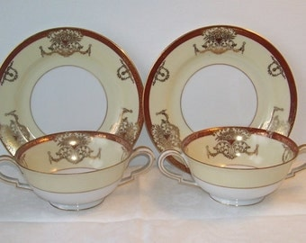 Noritake China Hand Painted Japan Dominant Double Handle Soup Cups and Saucers