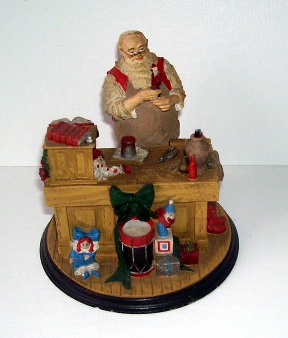 Norman Rockwell's Santa Claus  Workshop Pottery Figurine, Holiday Decor, Christmas Decor, Artist Norman Rockwell, Mantle Place Decor