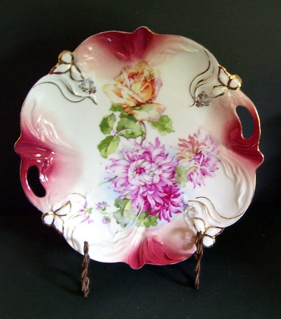 Bright Pink Dahlia  and Rose Plate