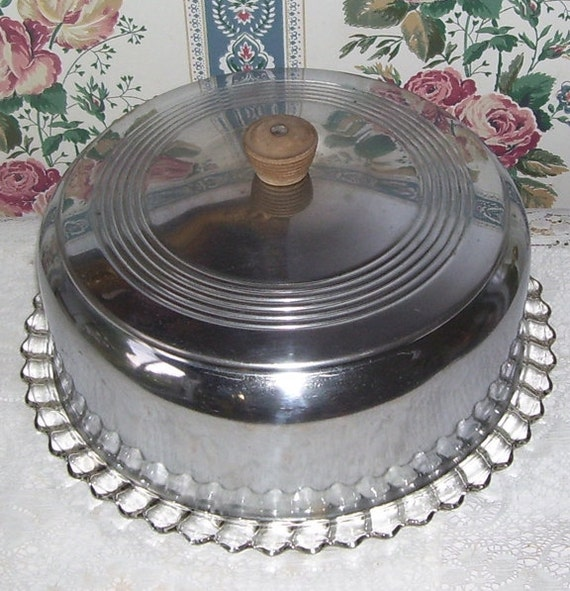 Vintage Aluminum Dome Glass Bottom Cake Plate