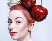 Giant Cherry Headband Burlesque Fascinator Hat Millinery Rockabilly  Red Hair Accessory Bridal by Pearls & Swine
