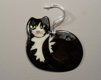 Tuxedo Cat Ornament - Handpainted Porcelain in Black and White