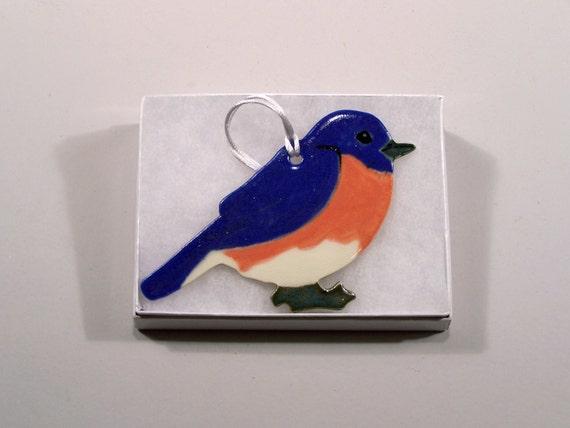 Bluebird Ornament - Handpainted Porcelain