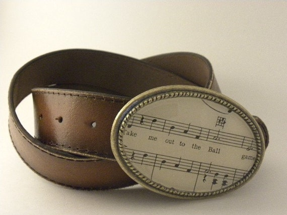 Baseball Buckle for Snap Belts Take me out to the Ball game