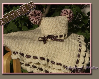 The Cupcake Baby Blanket with Matching Hat Crochet Pattern - PDF file