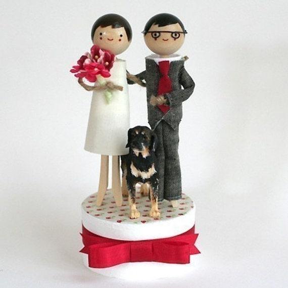 Handmade Keepsake Wedding Topper with ONE Pet - CUSTOM ORDER