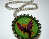 Garden fairy - fantasy bottle cap pendant necklace