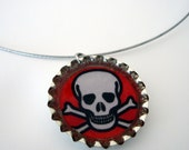 Red skull bottle cap pendant necklace
