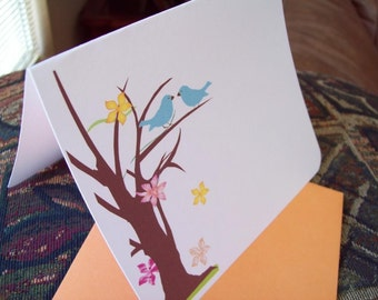 Personalized Two blue birds in a tree set of 10 notecards w/ orange envelopes. Gift ready.
