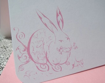 Personalized Pink Rabbit  / Bunny Stationery Set of 10 notecards and envelopes. Gift ready