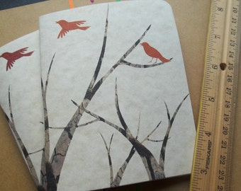 Beautiful Handmade -Eco Autumn / Fall inspired Jotters. Dark Orange & Red Birds fly over Breezy branches.Modern Stationery.