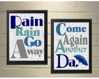 Rain Rain go Away, Come Again Another Day. 8x 10 Print Set. Free Ship in the US