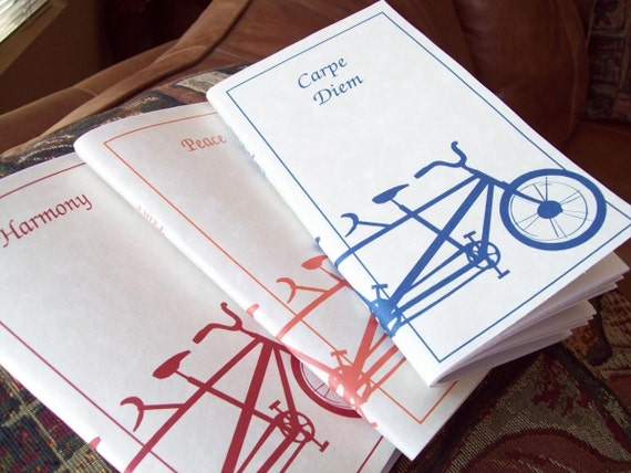 Customizable Handmade Set of 3  Tandem Bicycle / Bike Notebook. Great for Bike lovers.