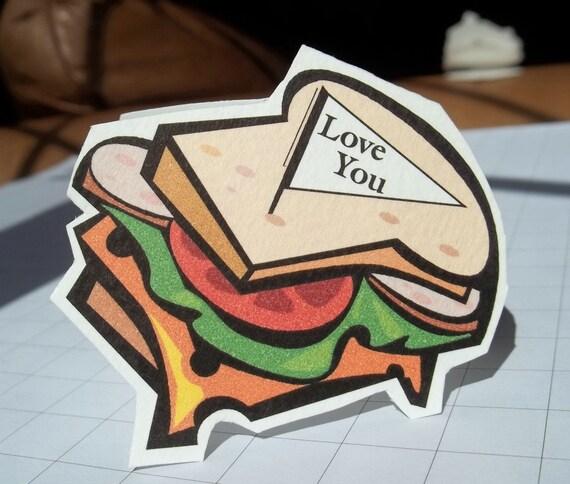 Back to School. Sandwich shape lunchbox mini note card set of 12