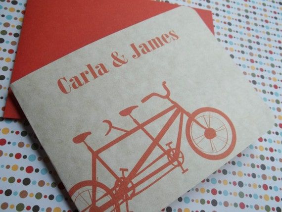 Tandem Bicycle in Orange Personalized  Notecard set. Great for Bike lovers. Gift ready. Modern stationery.