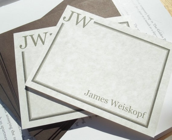 Perfect Classic Monogrammed  Personalized Stationery. Set of 10 Flat cards with 10 Chocolate Envelopes.