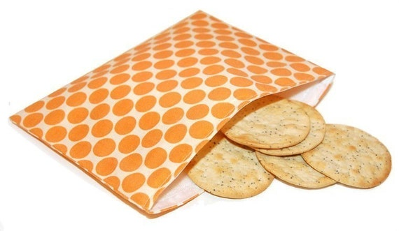 Reusable Snack Bag - Amy Butler Tangerine Full Moon Polka Dot