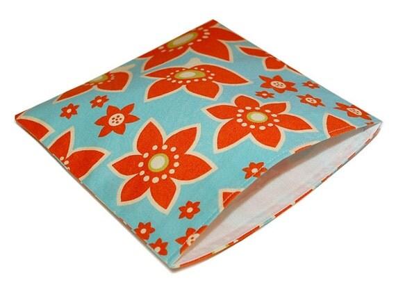 Reusable Sandwich Bag - Orange flowers on blue