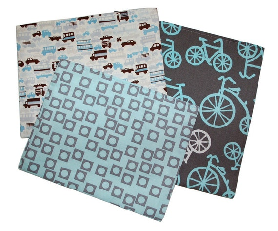 Reusable Snack and Sandwich Bag SET - Blue Bikes and Cars