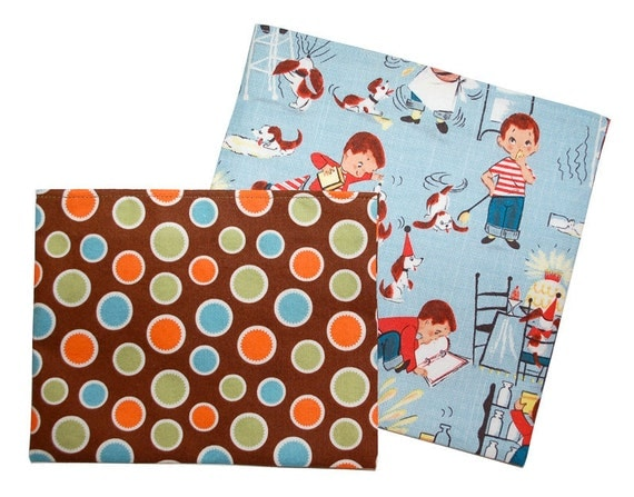 Reusable Snack and Sandwich Bag SET - Retro Boy & Dots