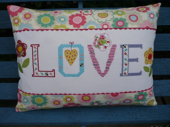 Hand Cross Stitched Love Cushion