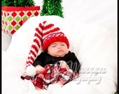 Photography Prop Newborn Hat Christmas Elf/PixieRed and White FREE SHIPPING