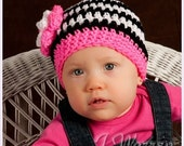 Striped Beanie with Hot Pink Trim  FREE SHIPPING