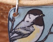 Recycled Chickadee Necklace with 18in leather cord