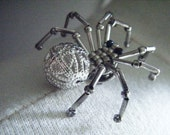 Silver Beaded Spider Pin or Tie Tack