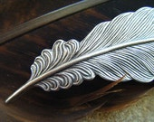 Large Silverplate Feather Barrette