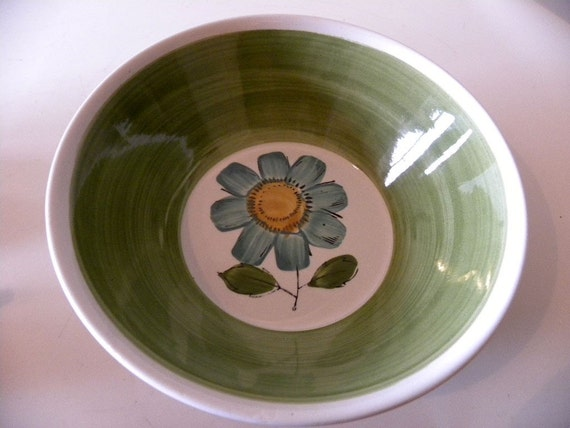Rossini Genuine Ironstone Green Vintage Round Serving Bowl