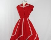 reserved for erin..........1950's Vintage Dress - Stunning Red with White Stripes Full Skirt Swing Frock