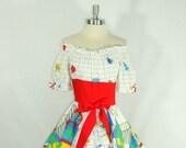 1970's Vintage Dress - NOVELTY PRINT  Cotton CAROUSEL Party Dress