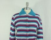 Vintage Cardigan Sweater - Blue Purple White Striped 1960s Mad Men Sweater