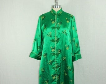 SALE.....1950's Vintage Coat - Fabulous Rayon Emerald Green Asian Long Jacket