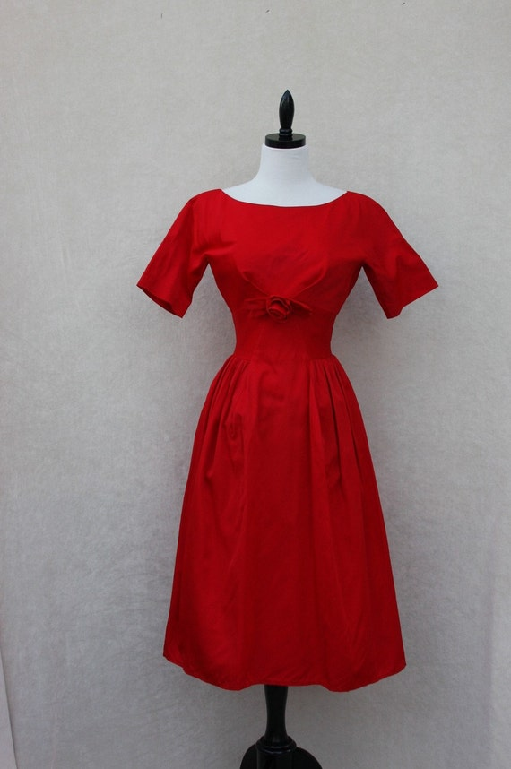 Beautiful RED Vintage Taffeta PARTY FROCK with ROSETTE