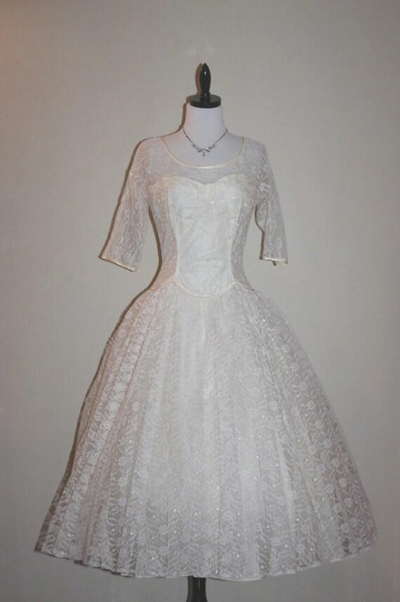 1950's Vintage Ivory Lace Circle Skirt ILLUSION Wedding Frock