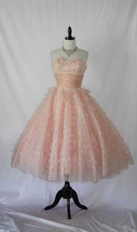 Delicious Vintage 1950's Pink and White Lace and Tulle Strapless Wedding Frock