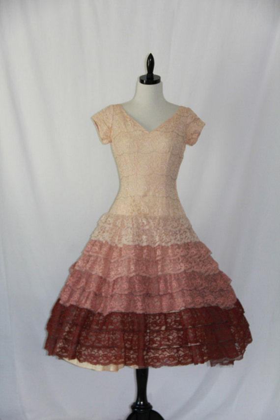 Vintage Ombre Lace 1950's Dress -  Tiered Lace Ombre Gradient Mocha Latte Cappuccino Party Frock