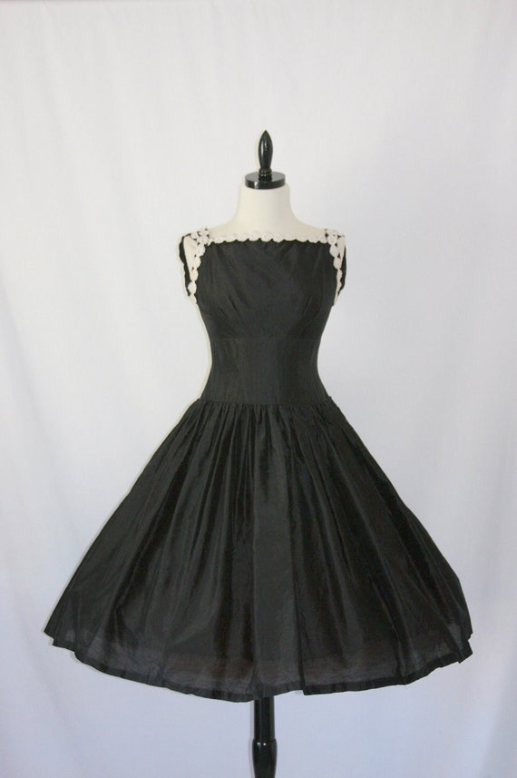 1950's Vintage Party Dress -  Black Linen Blend with White Scroll Trim Drop Waist Cocktail Party Frock