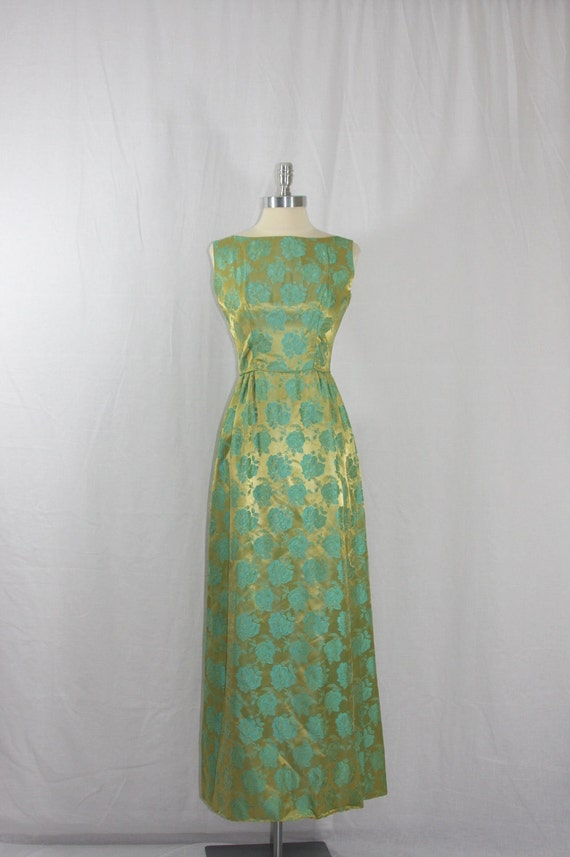 1950's Vintage Full Length Dress - Gold and Blue Silk Brocade Long Sleeveless Formal Gown