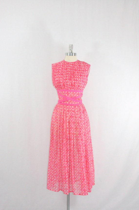 RESERVED for Martine .......Vintage 1950's Dress - Pink Mod ATOMIC Circles Full Skirt Criss Cross Party Frock