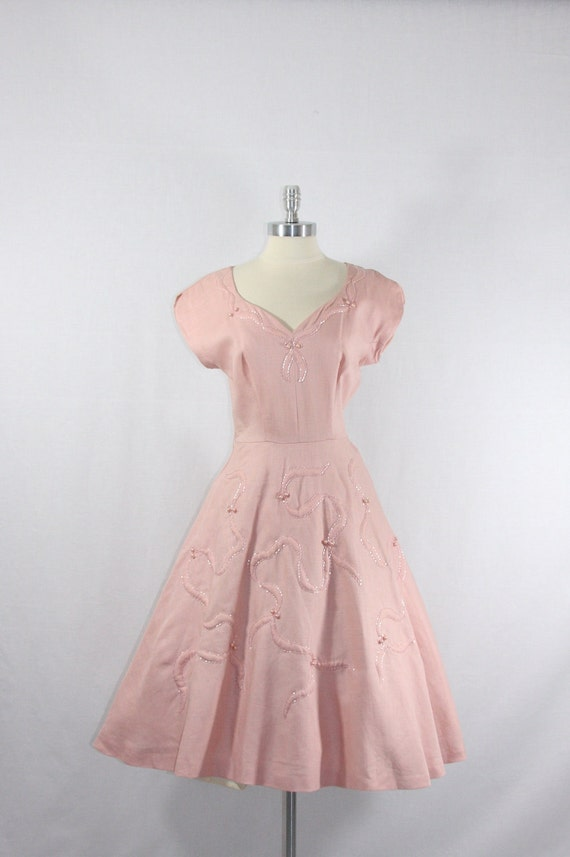 Reserved.....1950's Vintage Dress - Pink Linen with Gorgeous Beading and Pearls Party Dress