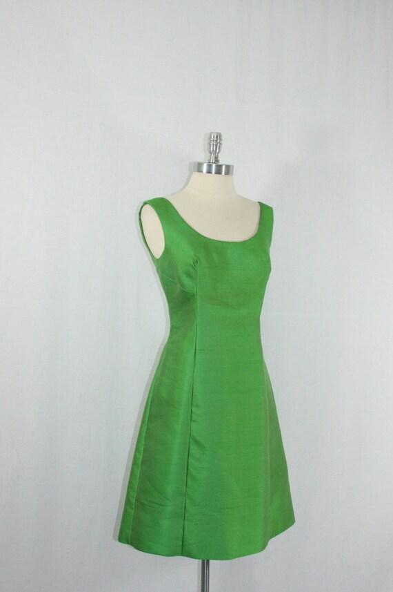 1960s Vintage Dress and Matching Jacket - Green Silk Paris Vogue Set