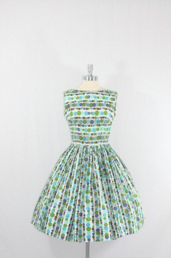Cotton Summer Dress - 1950's Vintage - Blue and Green Polka Dot Cotton Full Skirt Summer Dress