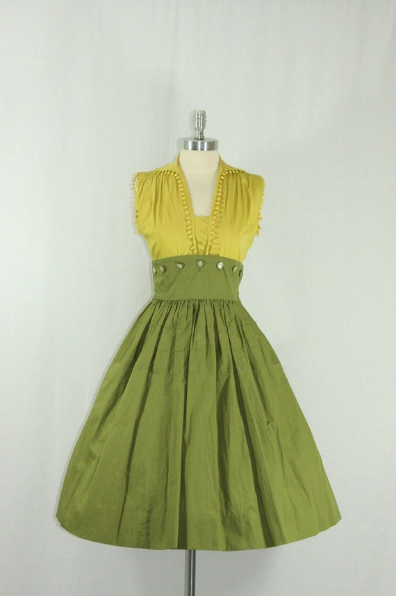 1950's Cotton Summer Dress and Matching Bolero Jacket - Mustard and Olive Green Unique Full Skirt Spring Frock